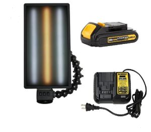 """PC LED 221 LED Dewalt Charged Ultra Vibrant Portable 20"""" Light (With Battery and Charger) Cool Warm Cool Strips"""