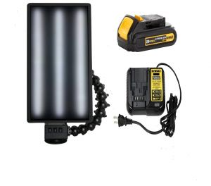 """PC LED 261 LED Dewalt Charged Ultra Vibrant Portable 20"""" Light (With Battery and Charger) 6 Strip Warm Cool Warm Strips"""